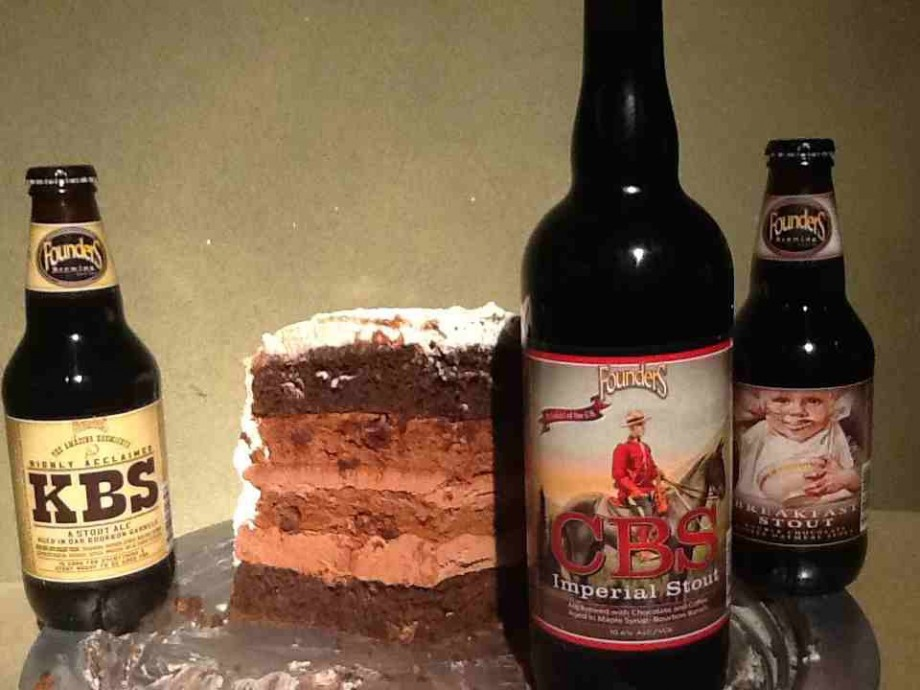 Founders CBS, KBS and Breakfast Stout with a mocha cake