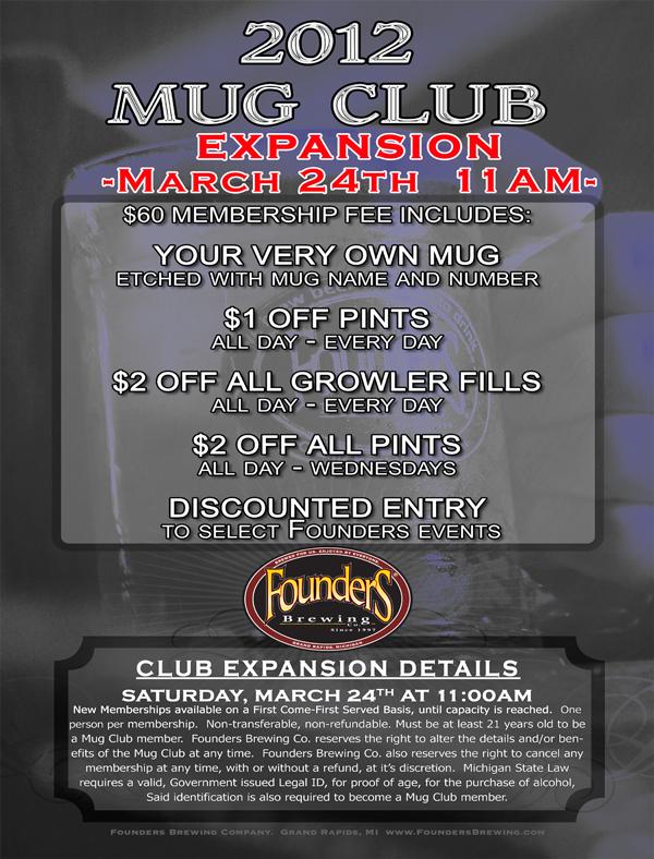 Founders 2012 Mug Club event poster