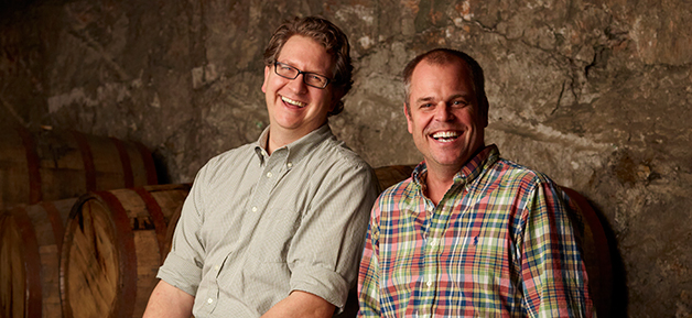 Dave Engbers and Mike Stevens in the caves beneath Grand Rapids, where the brewery stores their barrel-aged beers.