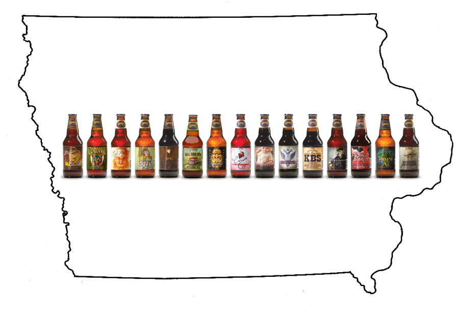 a map of Iowa with the Founders beer bottle lineup overlaid
