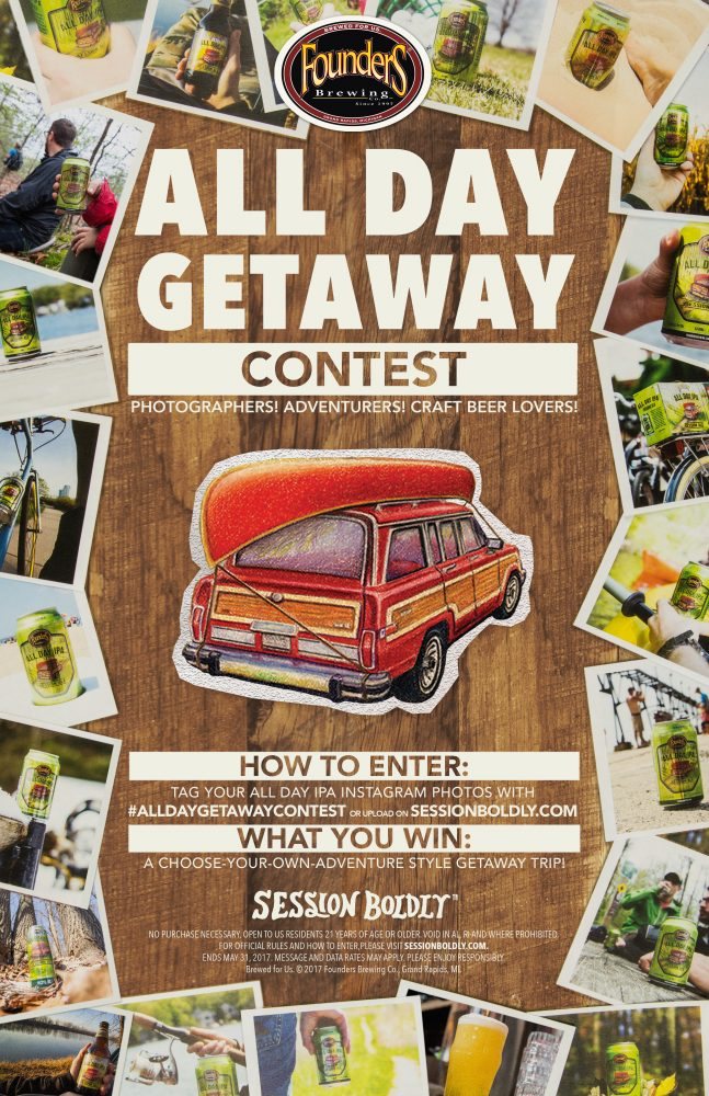Founders All Day Getaway contest poster