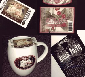 A ticket to the 2006 Breakfast Stout Breakfast, a Rübæus label, a poster from the 2005 Black Party, and an old Breakfast Stout Breakfast mug