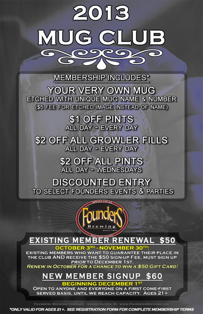 2013 Mug Club Information Poster -- all details are covered in the text in this post
