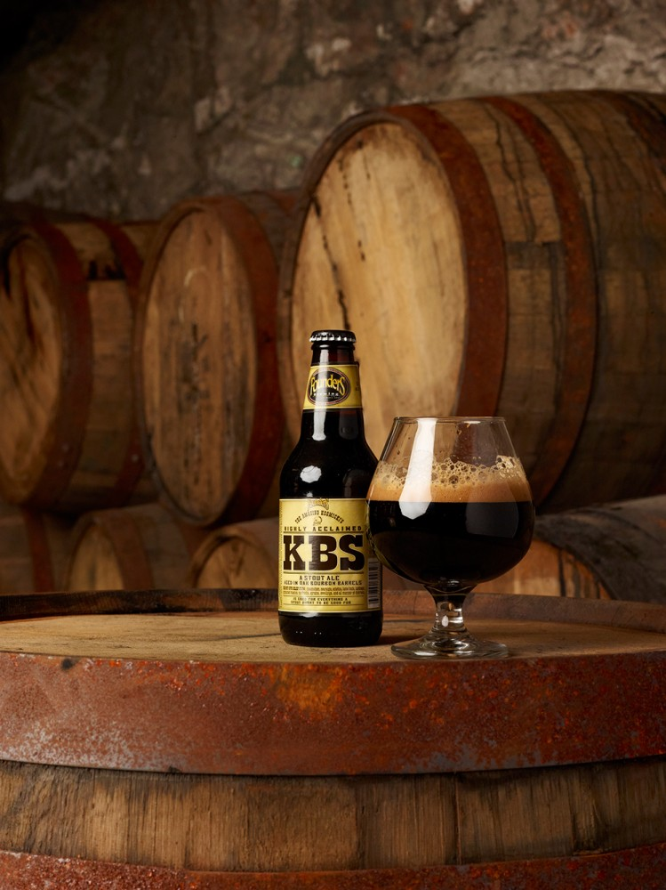 KBS in a bottle and poured onto a glass, on a barrel in the gypsum mines beneath Grand Rapids