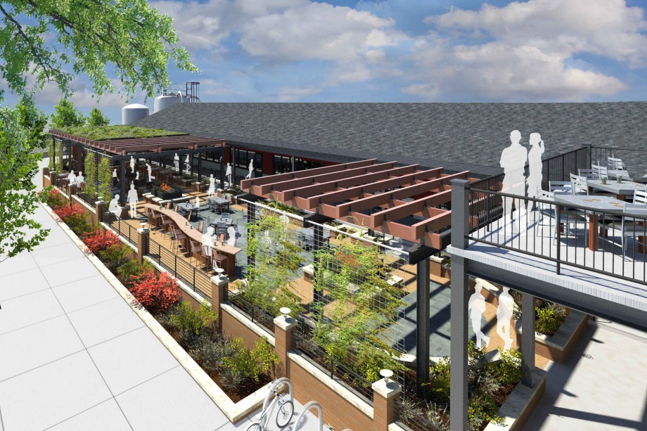 Founders Beer Garden Rendering Aerial View: Opens Fall 2013