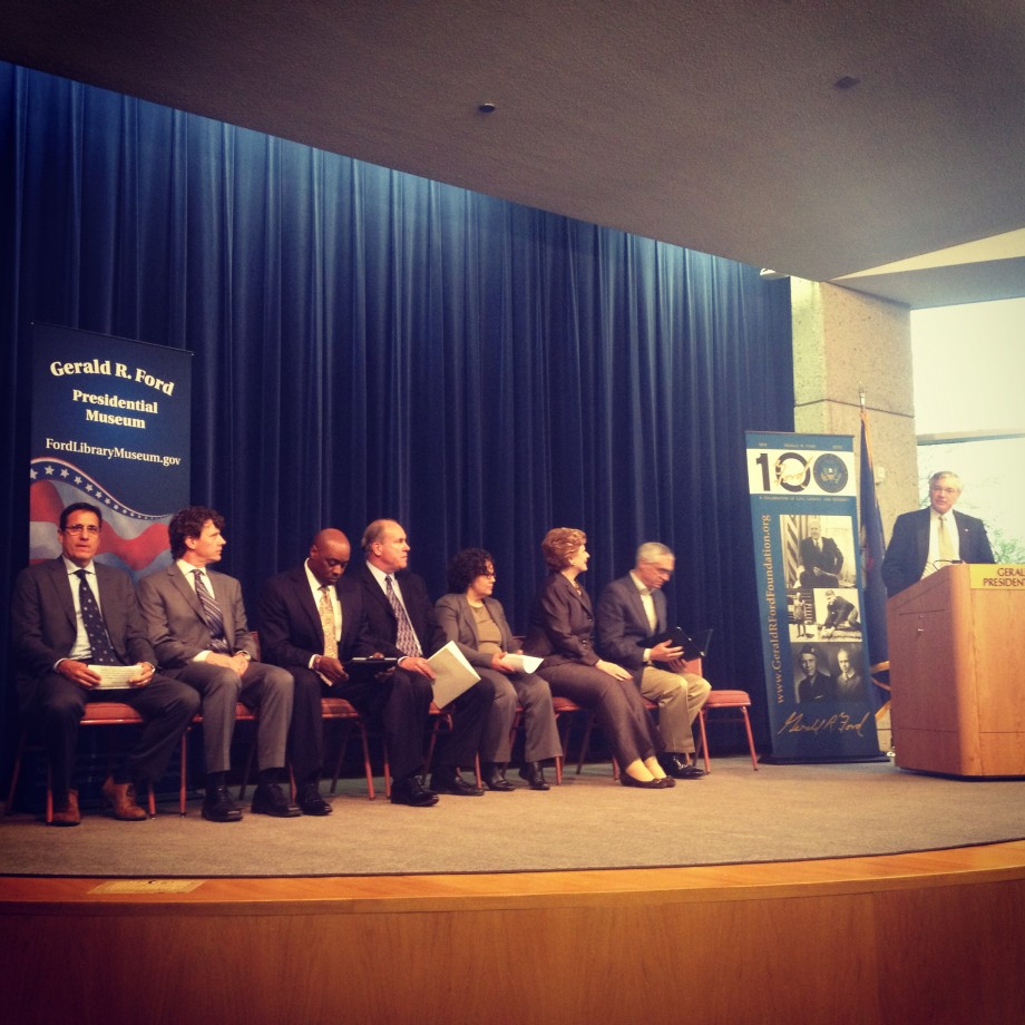 Representatives at the Gerald R. Ford Museum for the Urban Waters announcement on 5.10.13