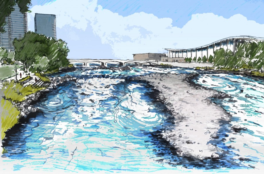 Painted Rendering of Grand River with rapids restored