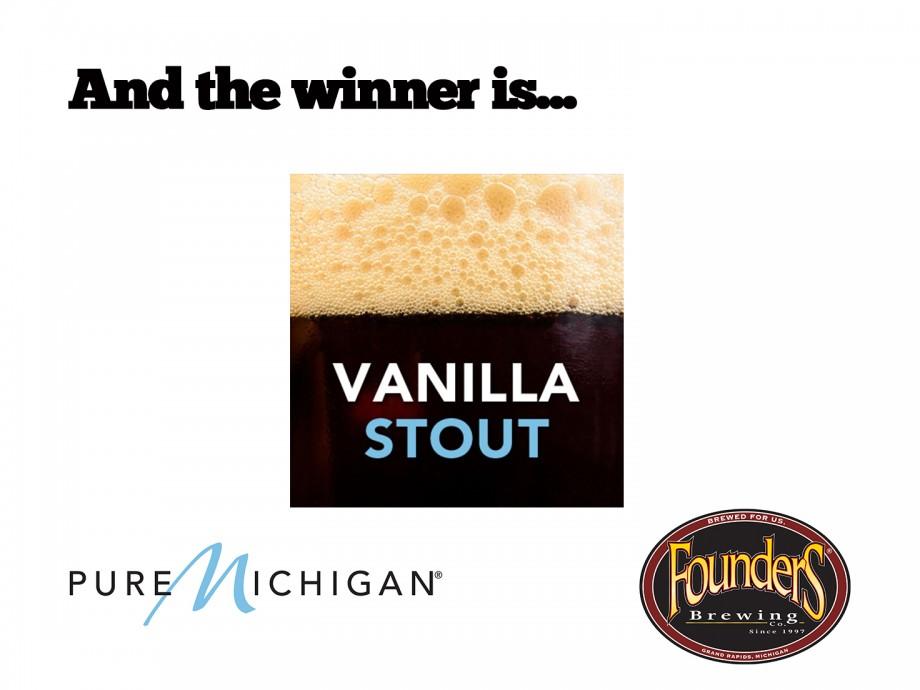 Pure Michigan Beer Contest Winner: Vanilla Stout