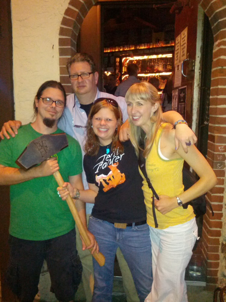 Brewmaster Jeremy Kosmicki, Co-Founder Dave Engbers, Brewer Laura House and Events Coordinator Christina with the Hammer of Glory (HOG) at the POPE