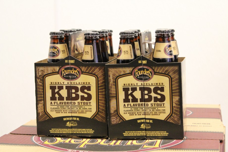 A couple of four packs of KBS on a Founders case box