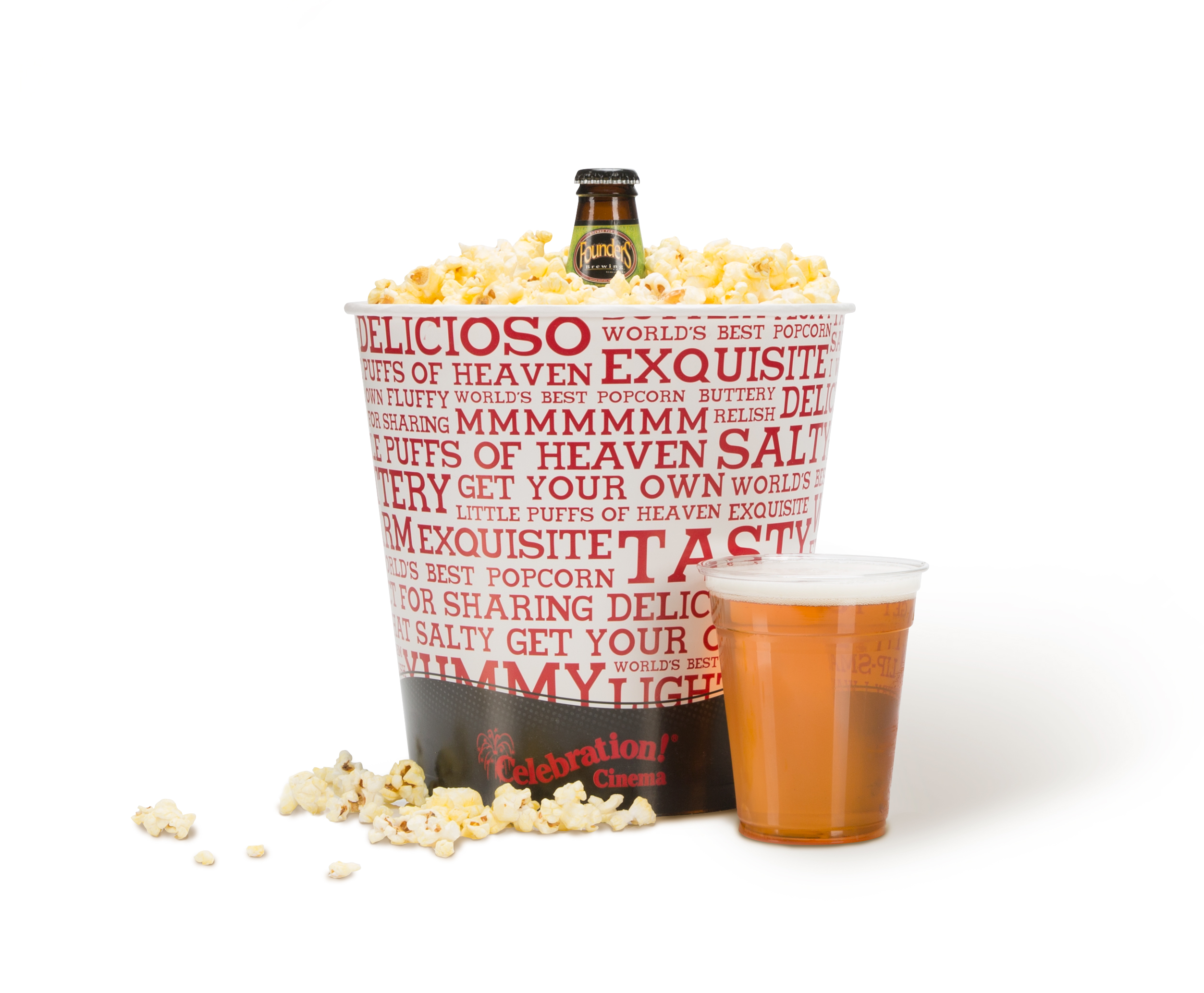 Celebration cinema popcorn bucket with Founders beer