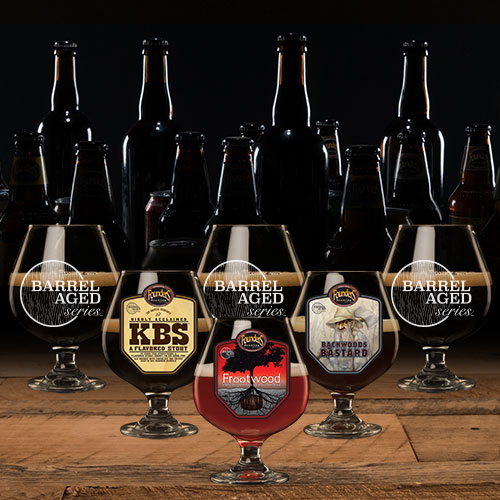 Beer goblets filled with Founders Barrel Aged Series, KBS, Frootwood, and Backwoods Bastard