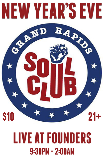 Founders NYE GR Soul Club band poster