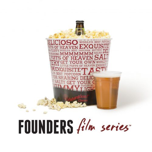 A promotion for Founders film series showing Celebration cinema popcorn bucket with Founder's beer