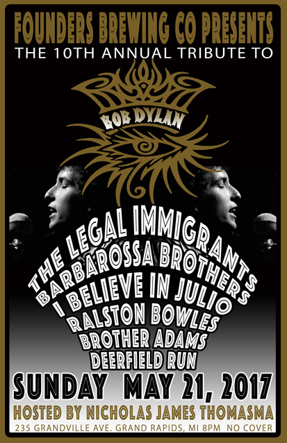 10th Annual Tribute to Bob Dylan event promotion poster