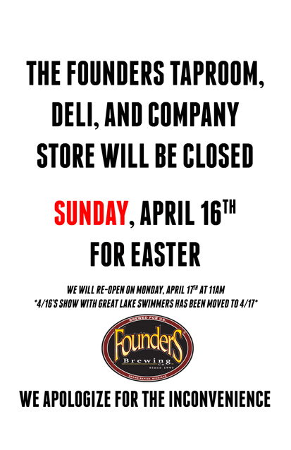 Founder's taproom closed poster