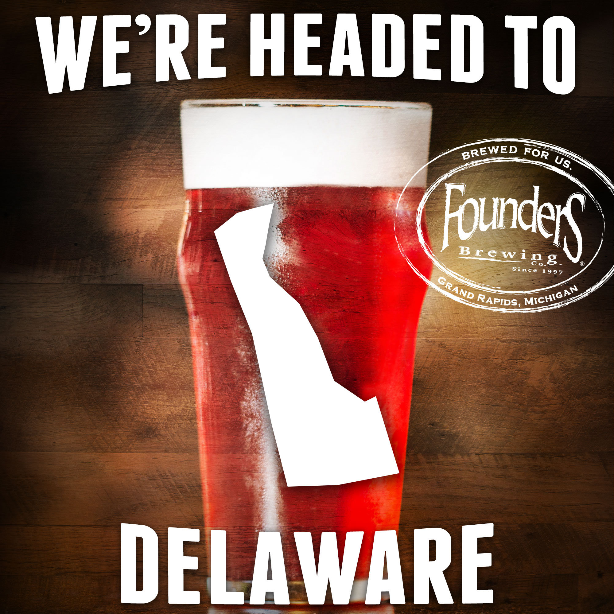 Founders promotion showing that they're coming to Delaware