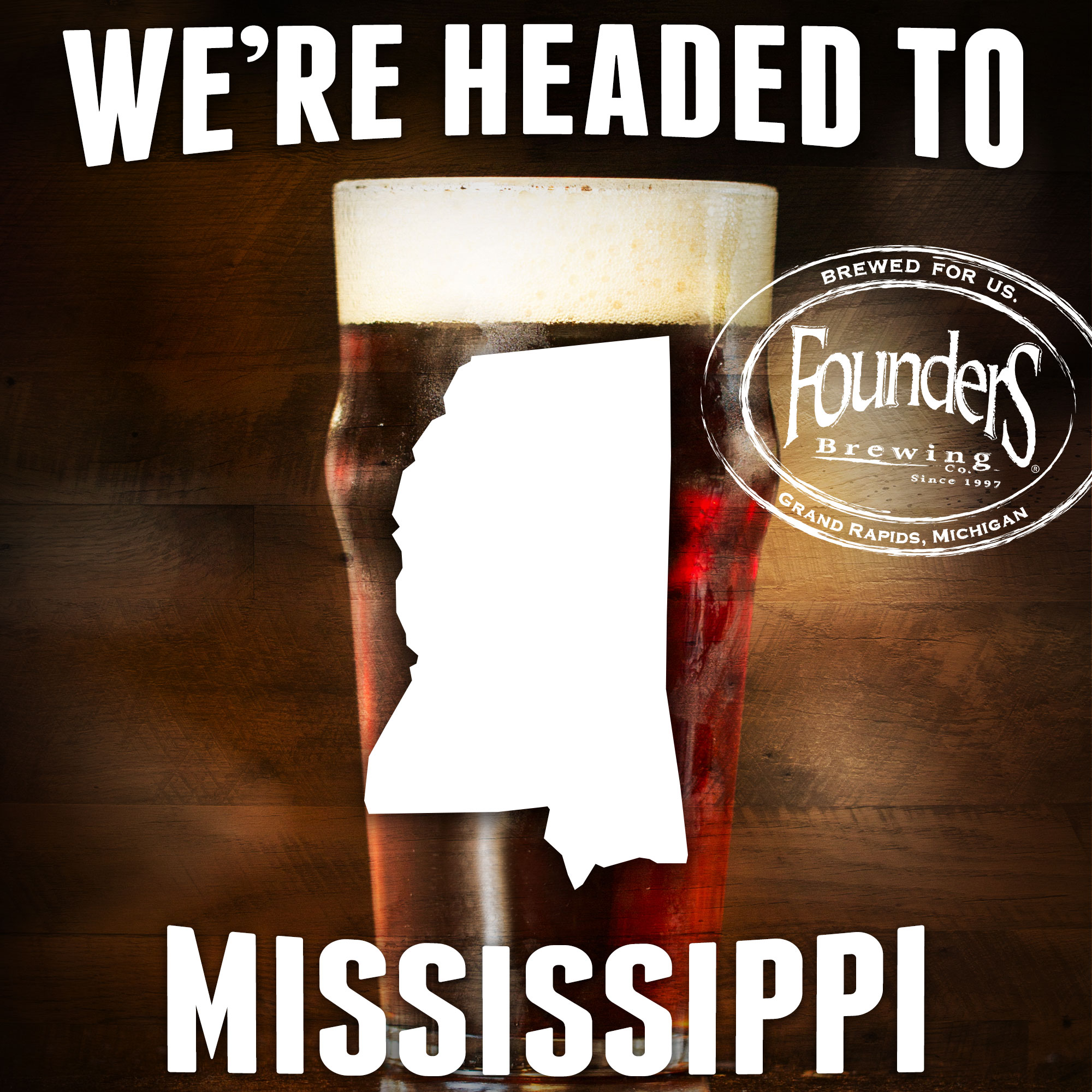 Founder's promotion showing that they're coming to Mississippi