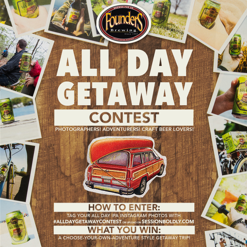 Founders All Day Getaway contest promotion poster