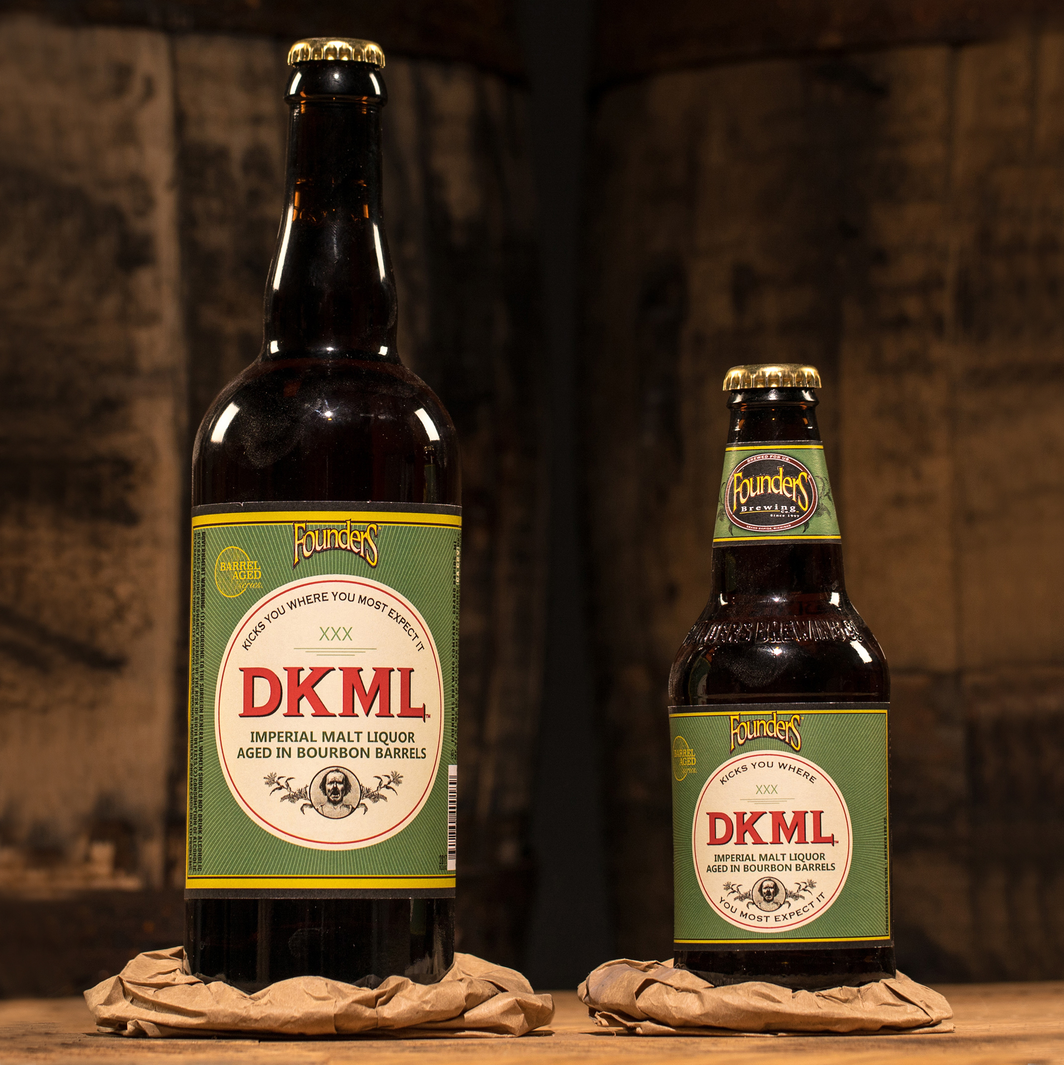 Two different sized bottles of Founders DKML