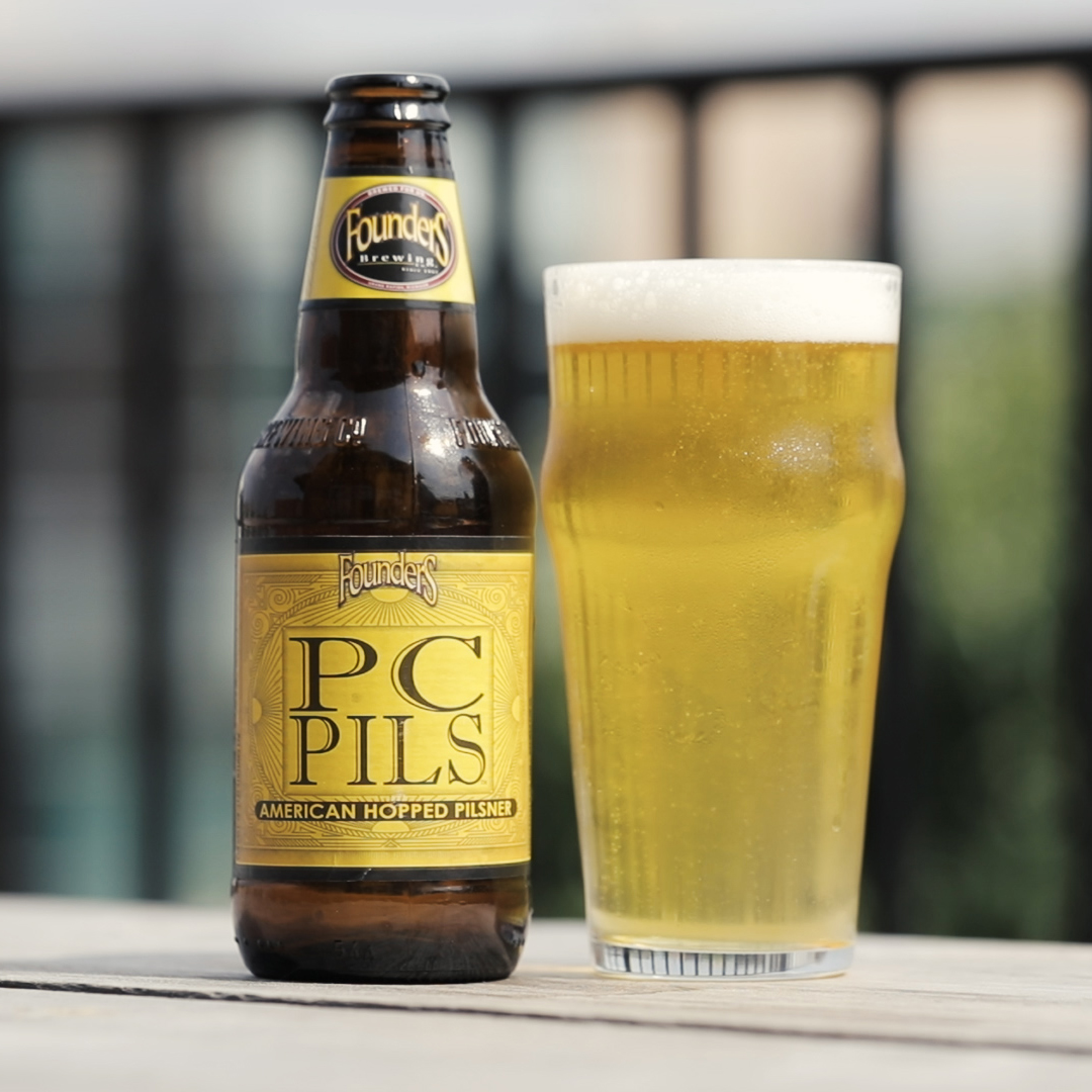Founders PC Pils bottle and glass of beer
