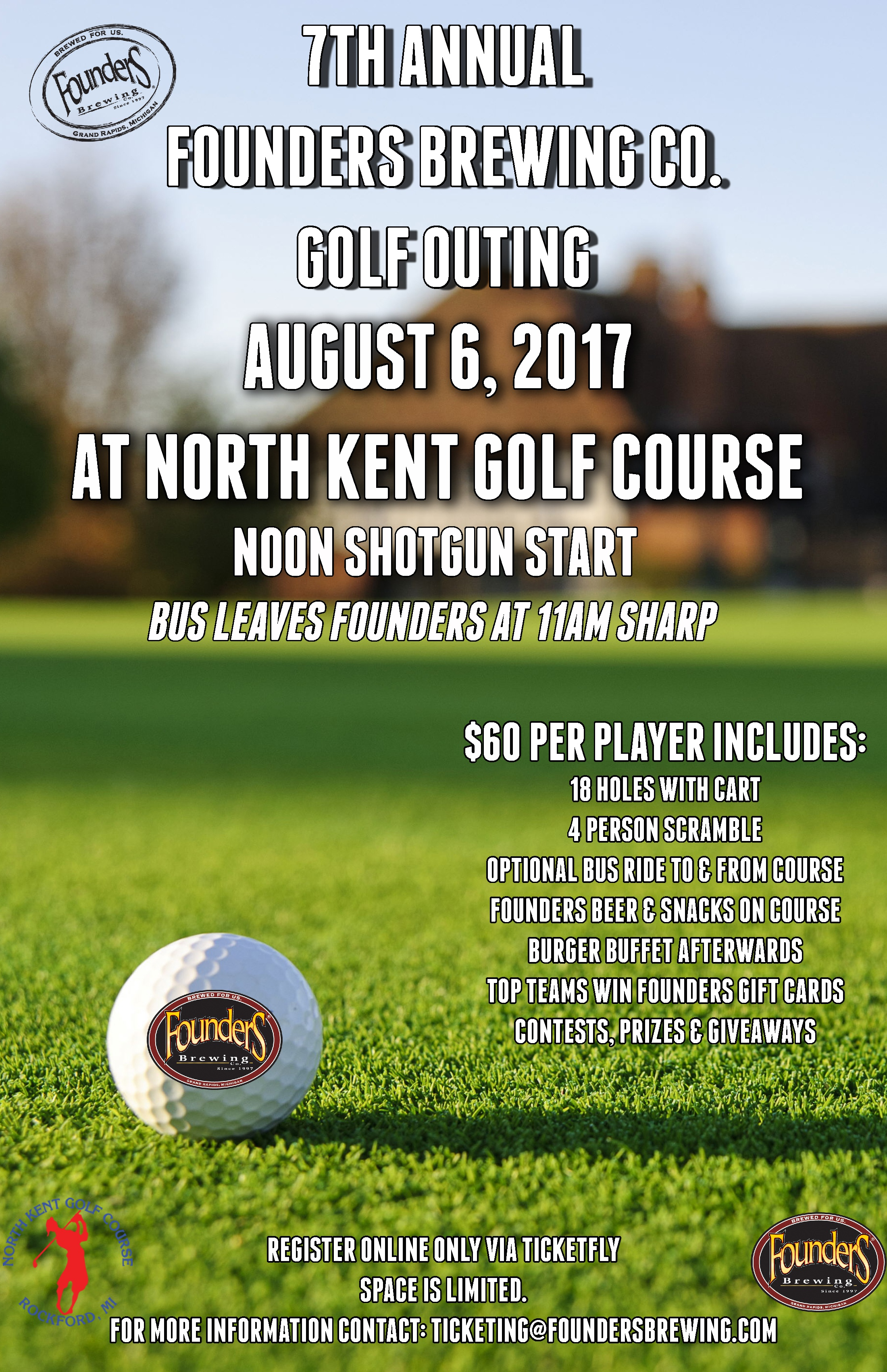 7th Annual Founders Brewing Golf Outing promotion poster