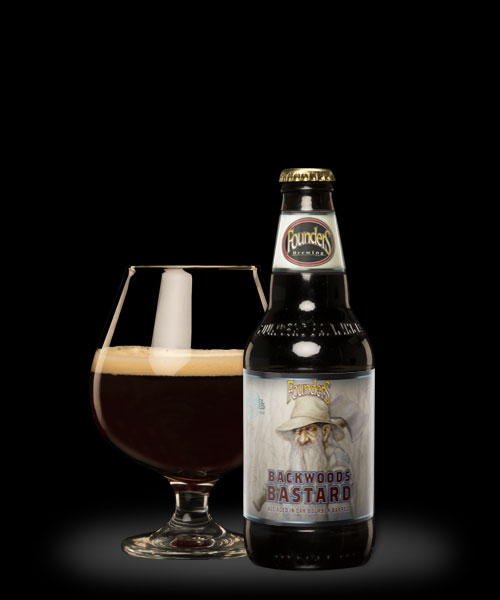 Founders Backwoods Bastard snifter and bottle