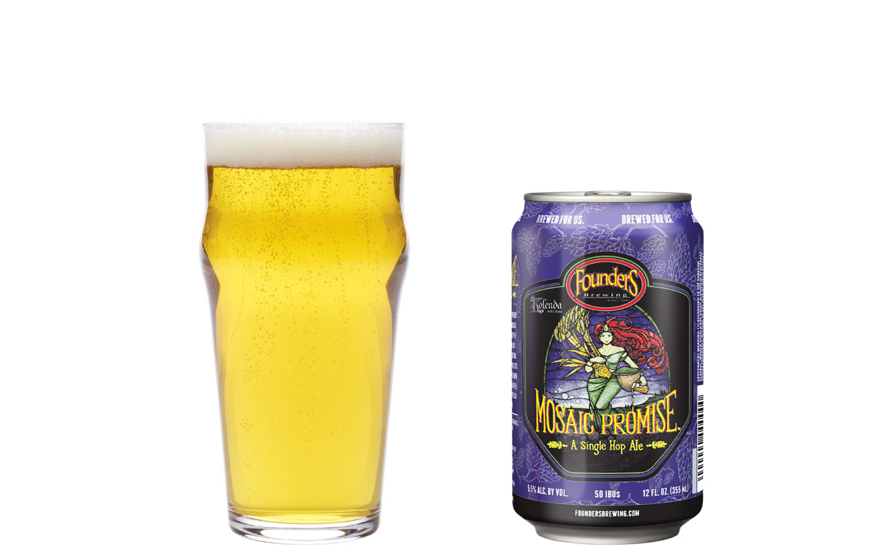 Founders Mosaic Promise glass and bottle