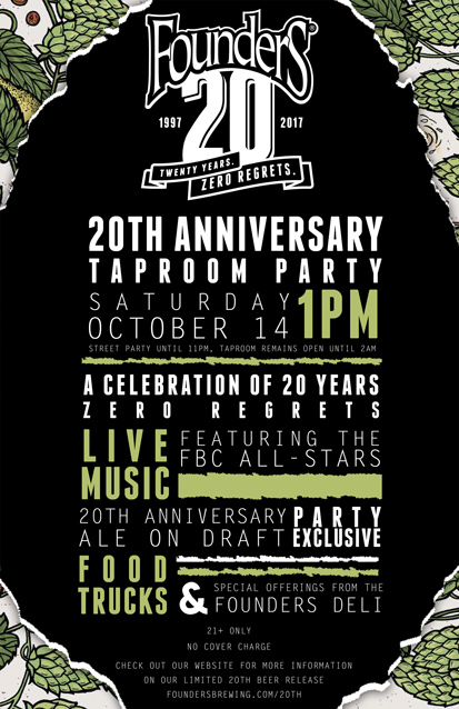 Founders 20th Anniversary taproom party poster