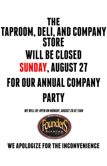 Poster showing that Taproom, Deli and Store will be closed for a company party