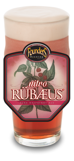Founders Nitro Rubaeus glass with Rubaeus logo on glass