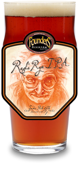 Founder's Red's Rye IPA glass with Red's Rye IPA logo on the glass