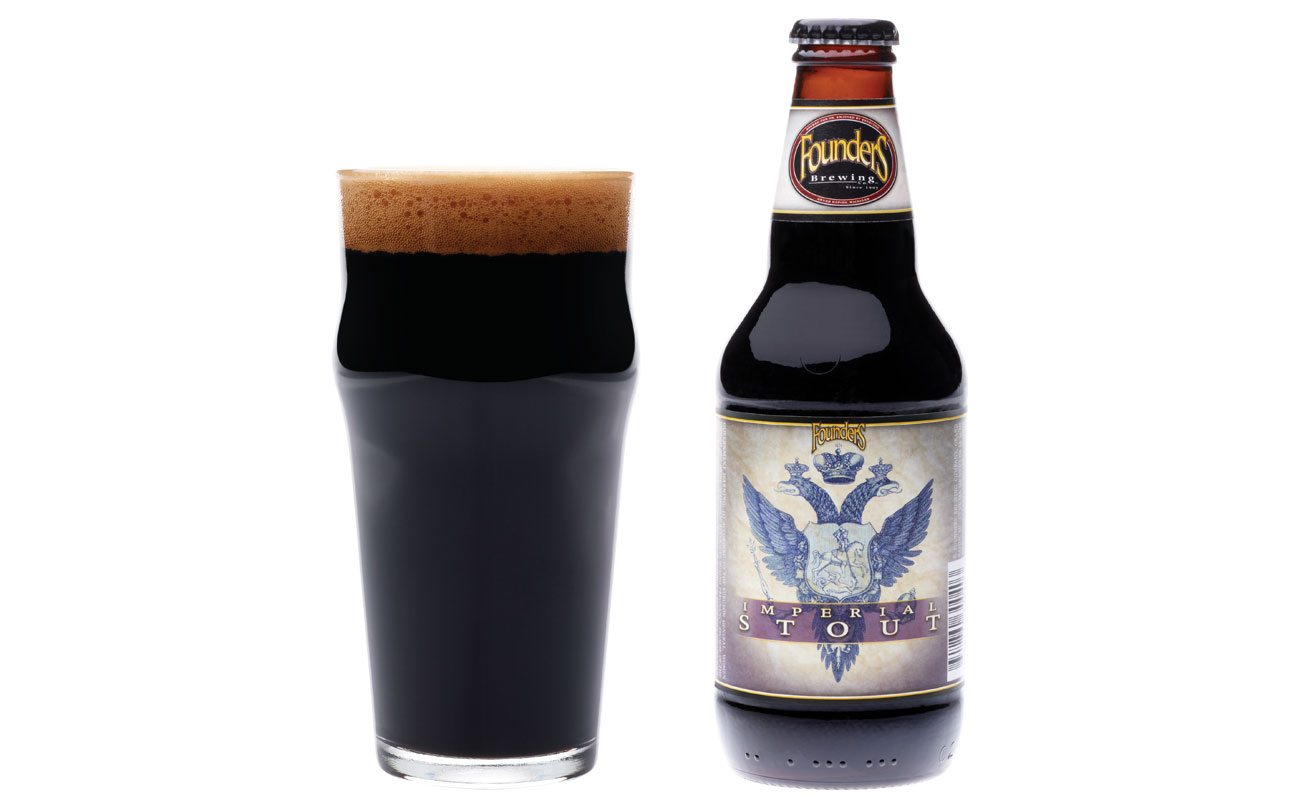Founders Imperial Stout glass and bottle