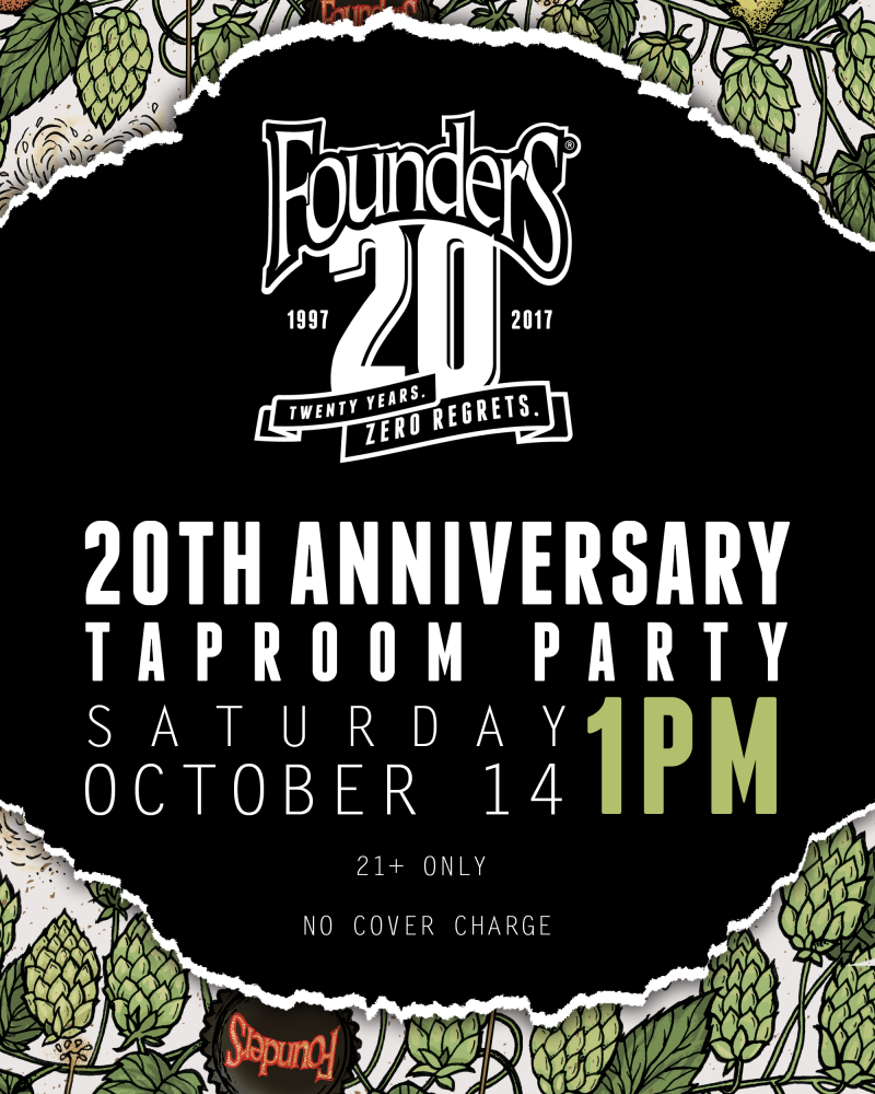 Founders 20th Anniversary event poster