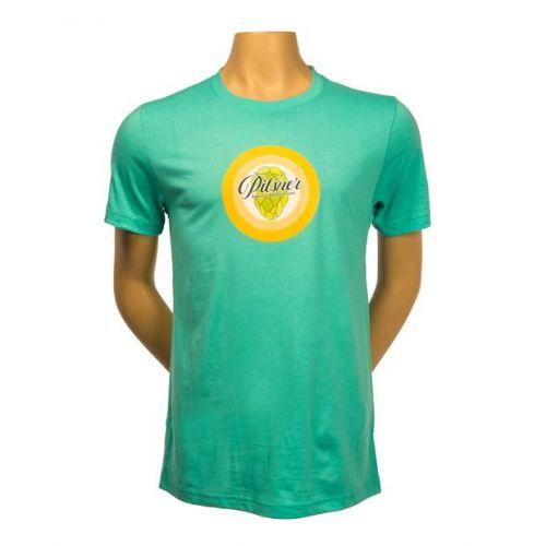 Teal t-shirt with Pilsner logo