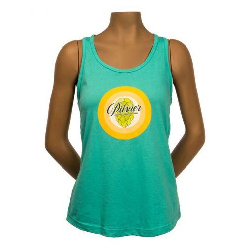 Teal women's tank top with Pilsner logo