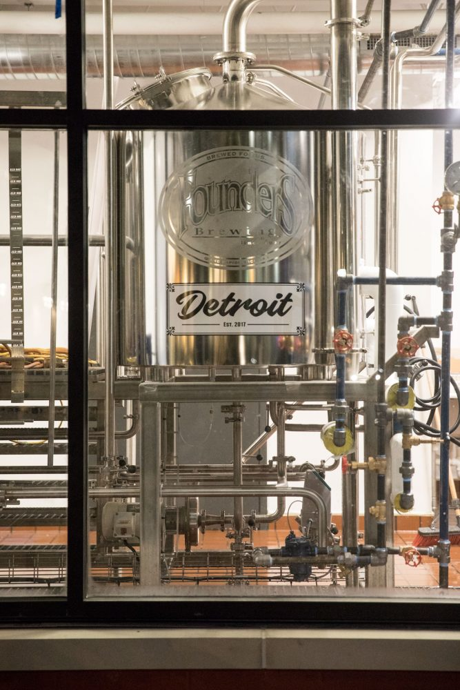 View inside of Founders Detroit brewing facility