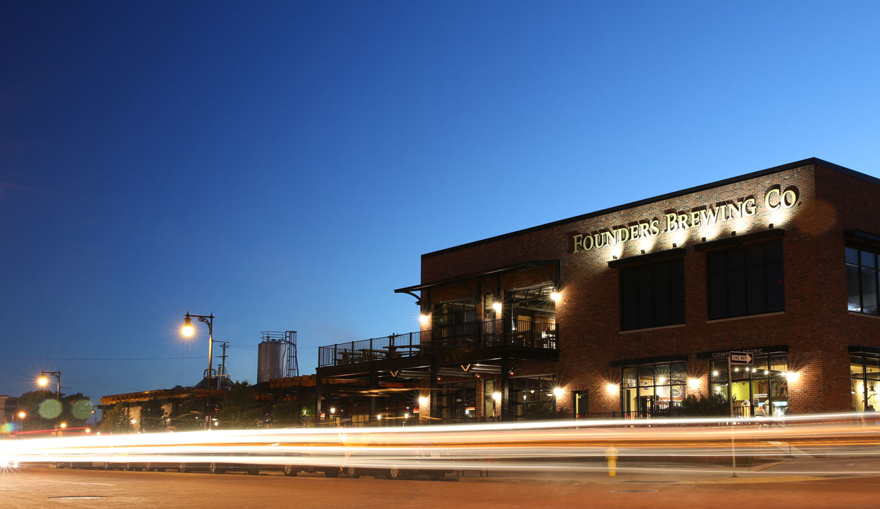 The Outside of the Founder's taproom in Grand Rapids