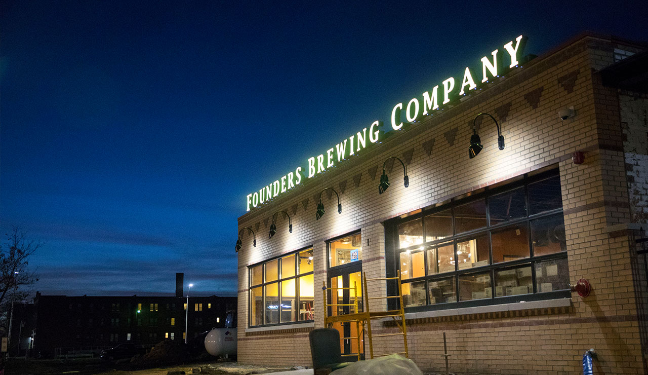 Outside view of the Founder's Detroit taproom