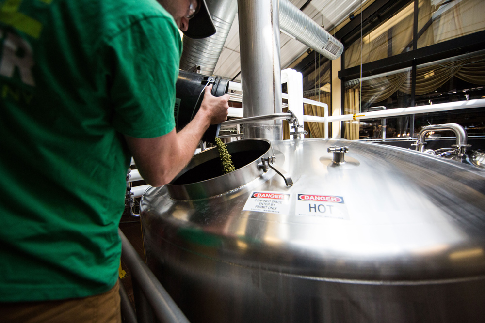 Man pouring hops into beer brewing vat