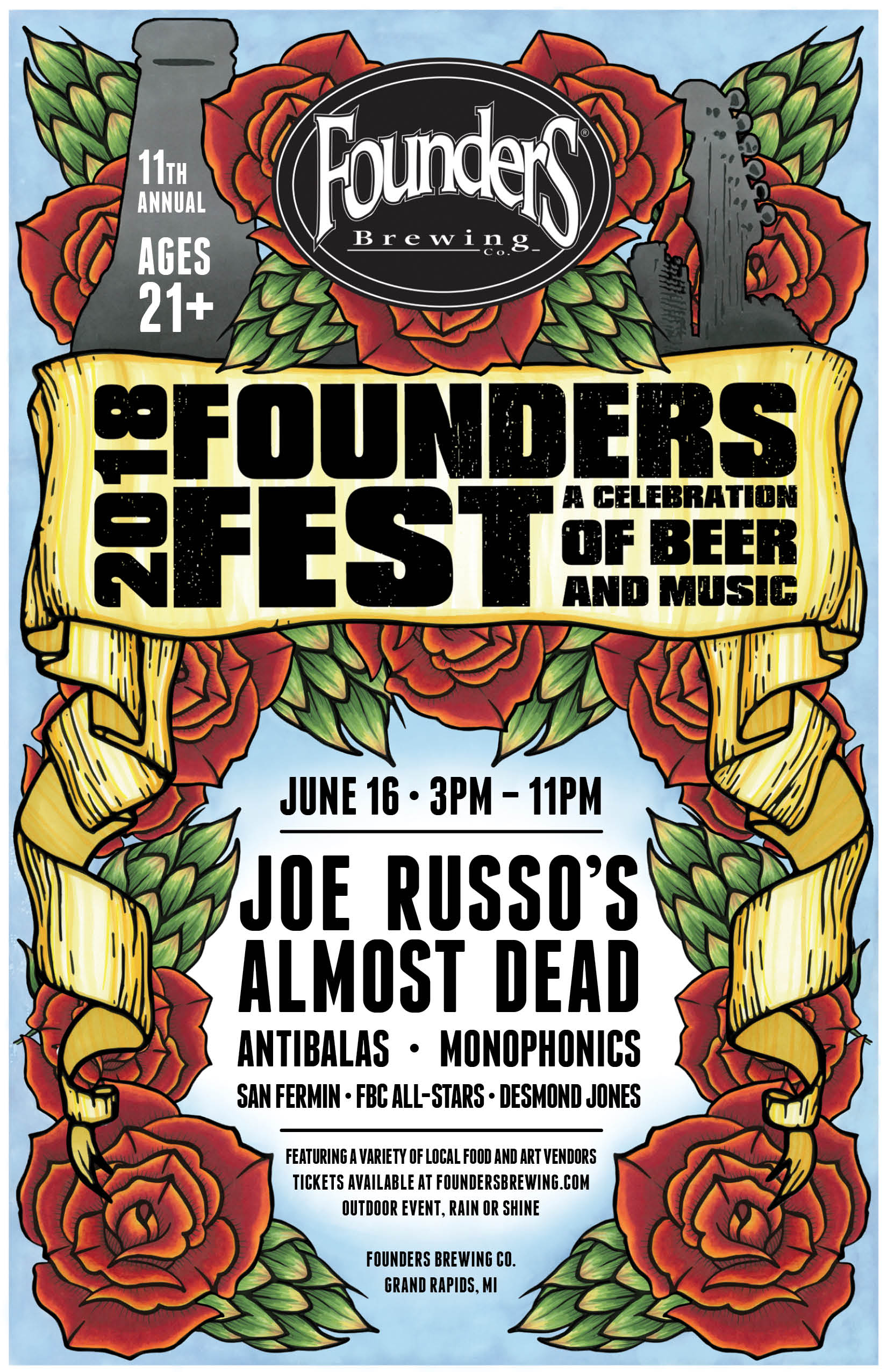 2018 Founders Fest A Celebration of Beer and Music event poster