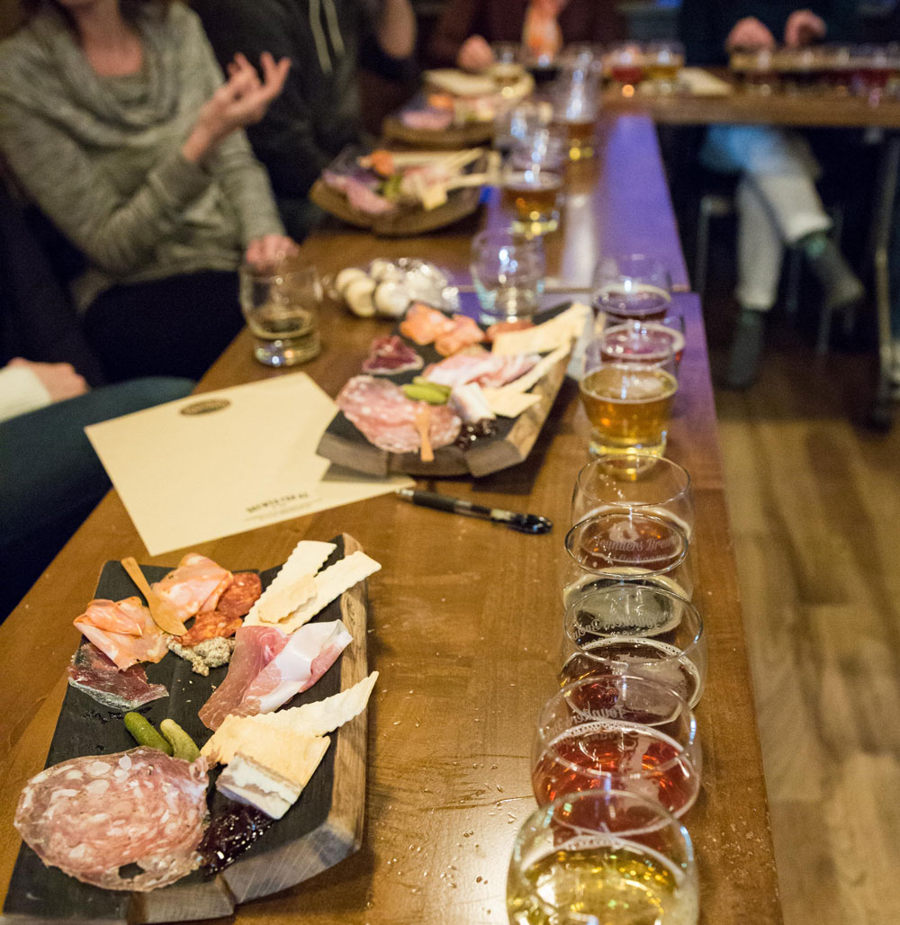 Assortment of beers and charcuterie boards