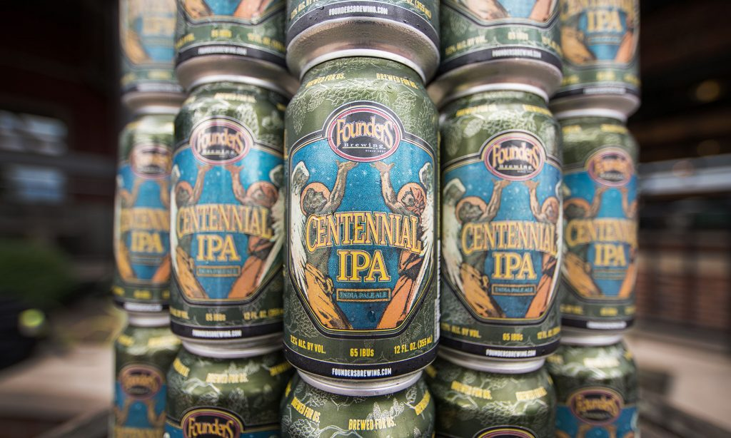 Cans of Founders Centennial IPA stacked on each other