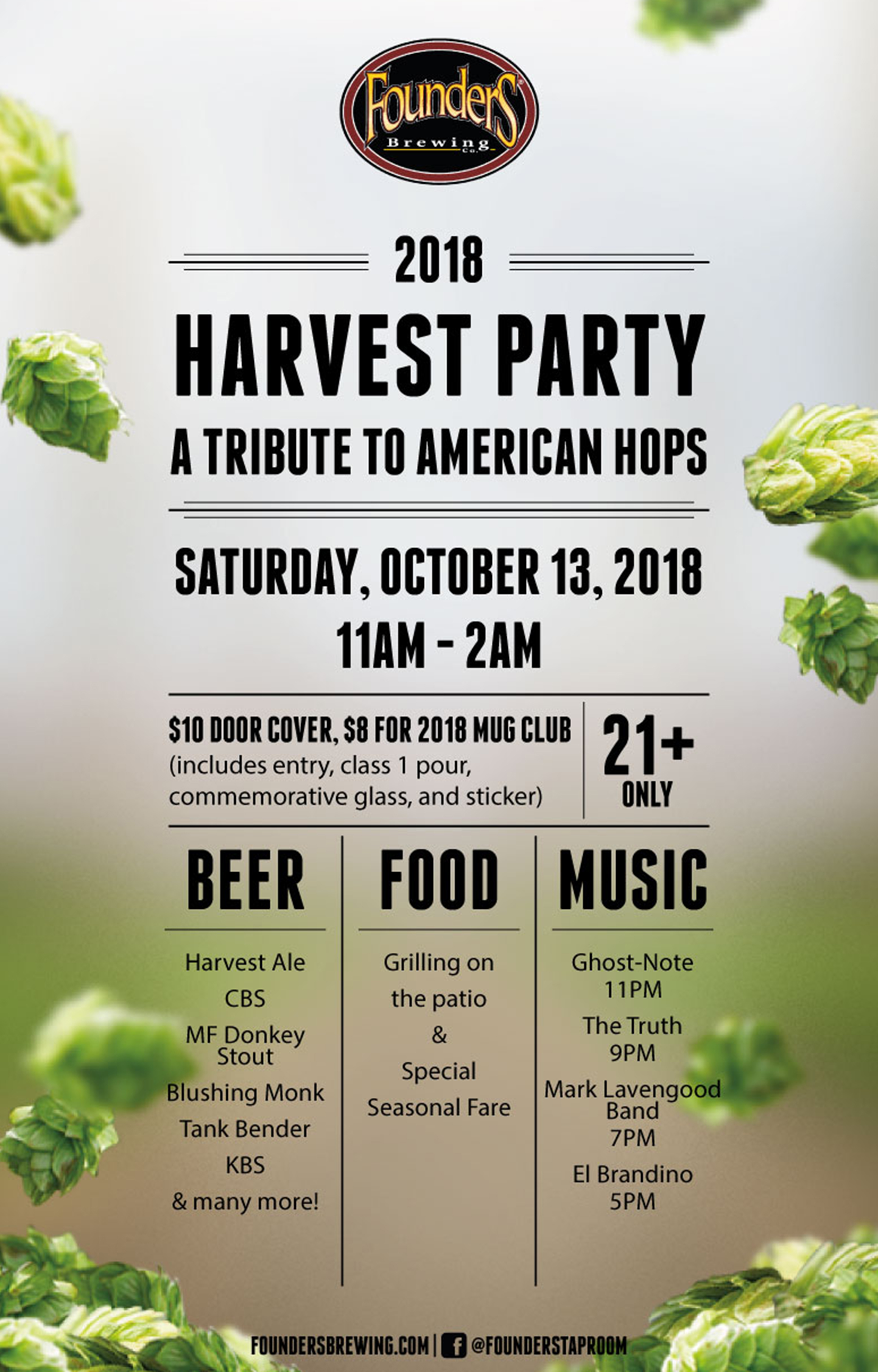Founders 2018 Harvest Party A Tribute to American Hops event poster