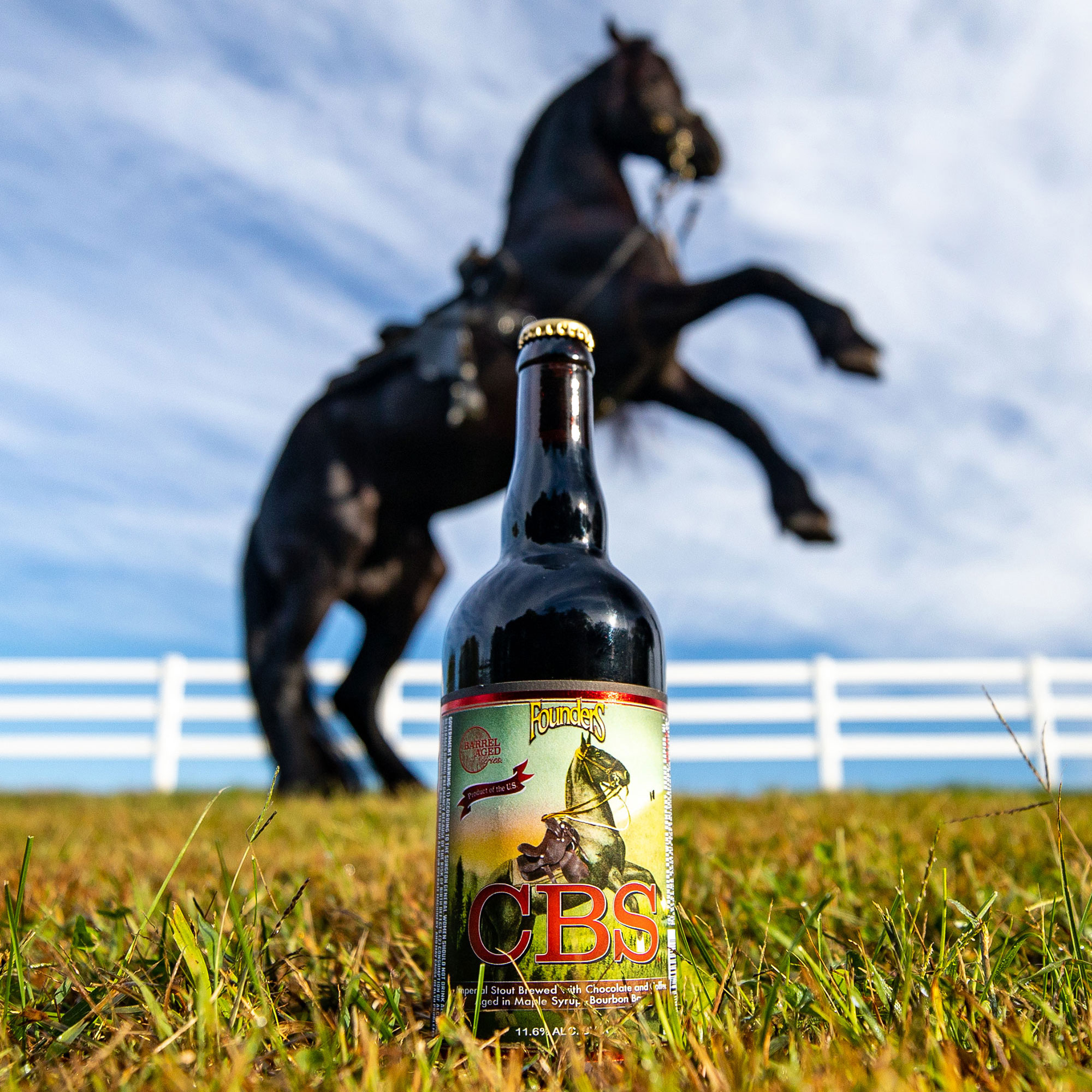 Bottle of Founders CBS with horse