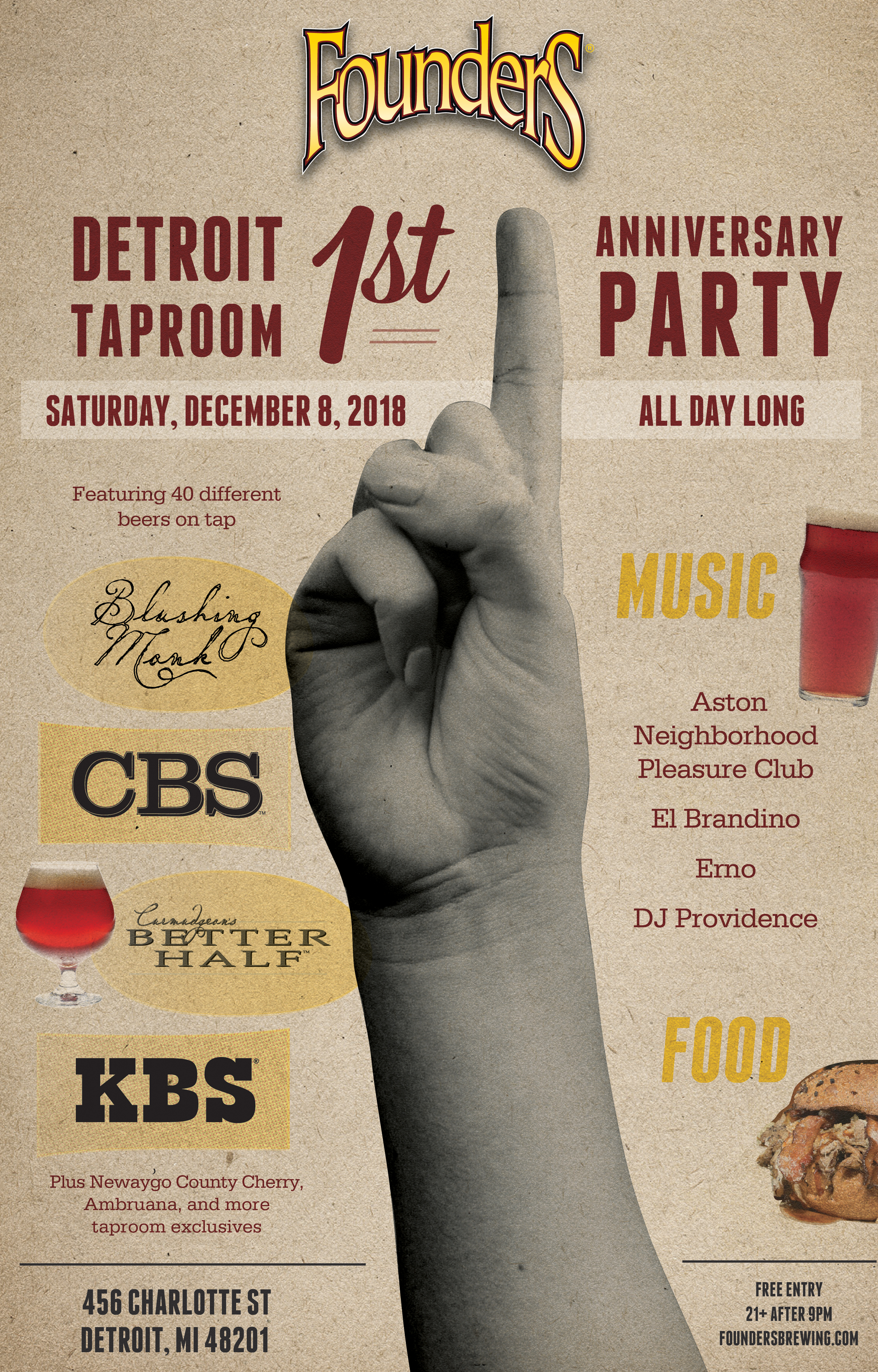 Detroit Taproom 1st Anniversary Party event poster