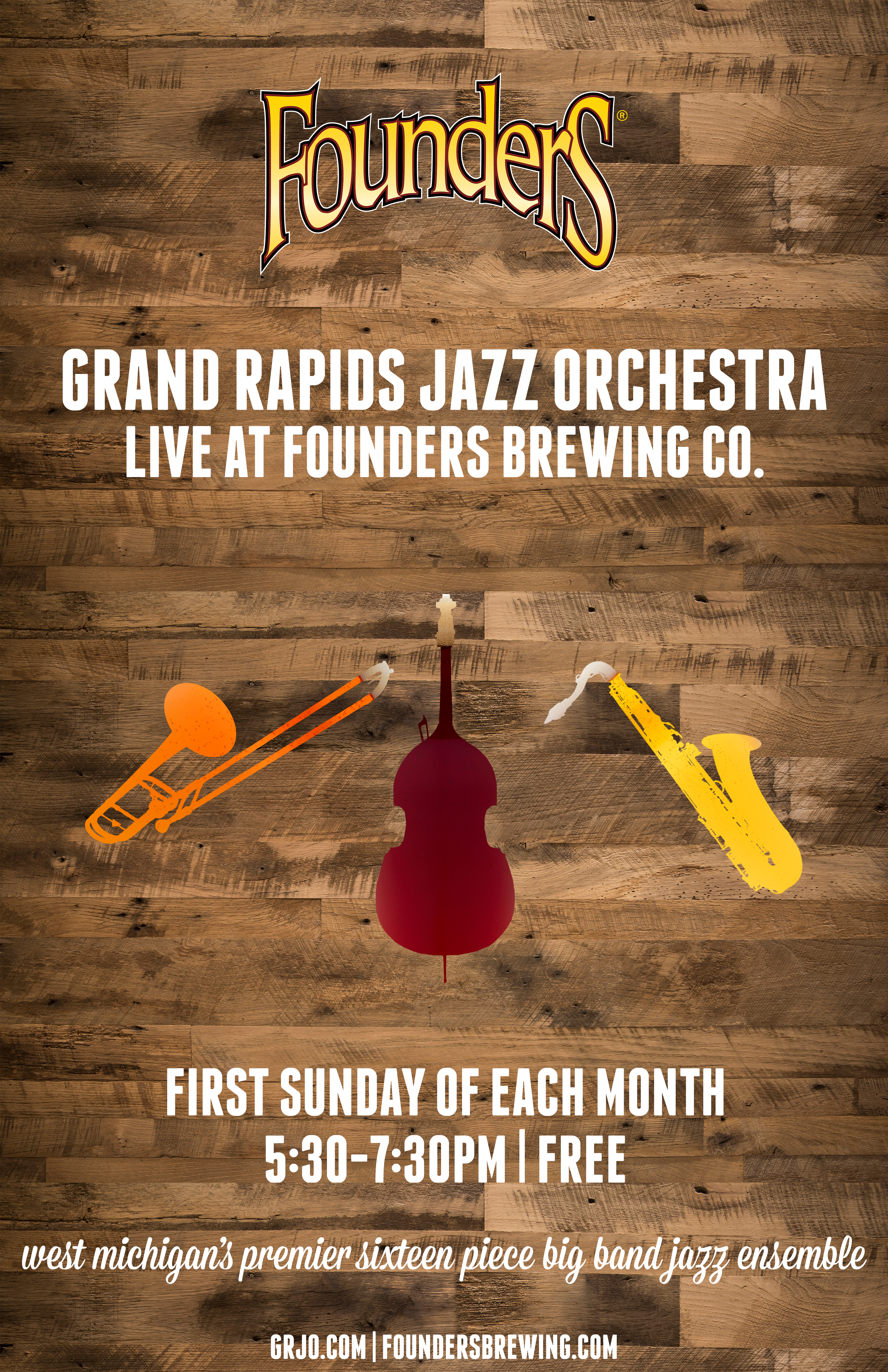 Founders Grand Rapids Jazz Orchestra event poster