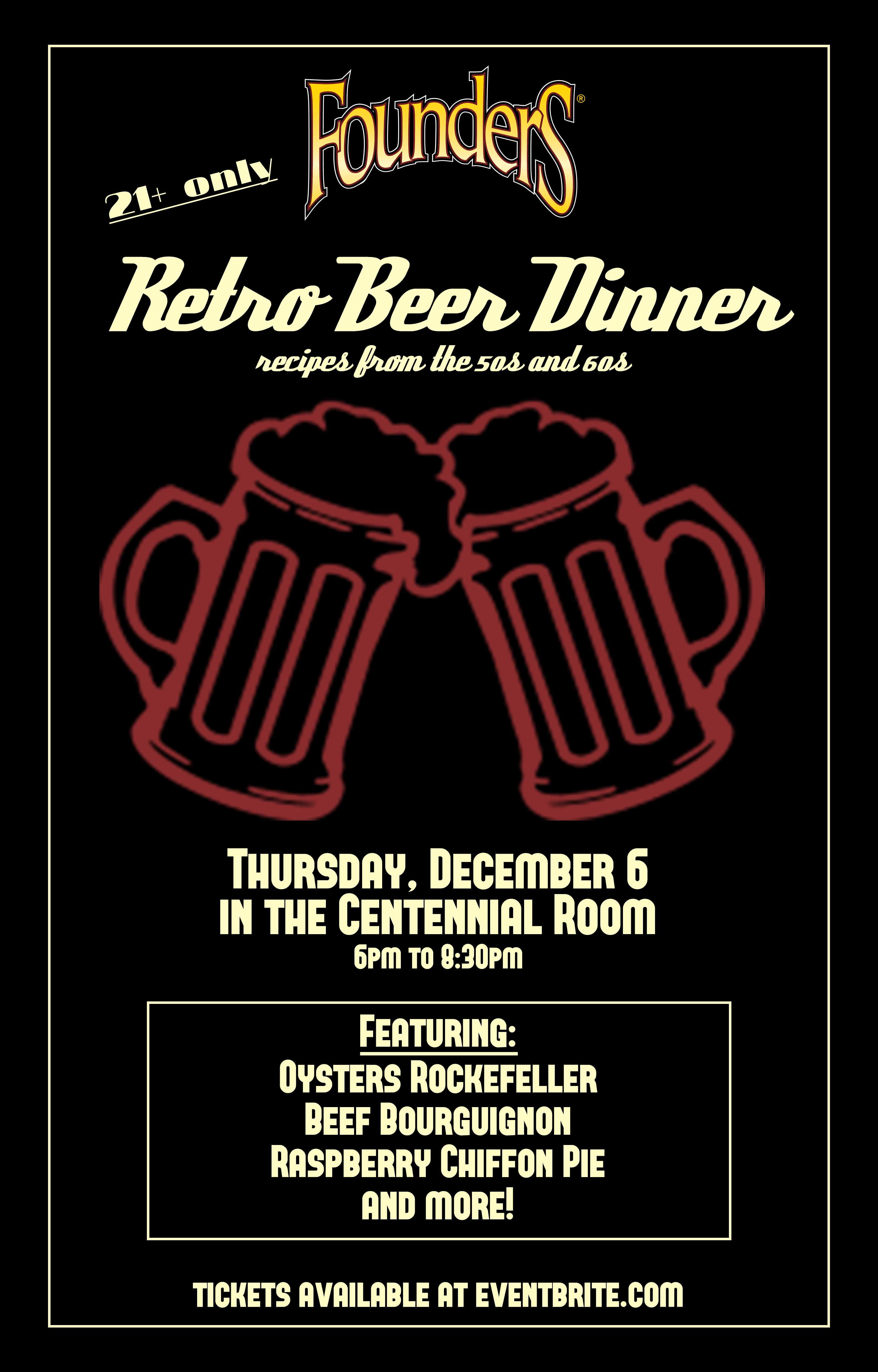 Founders Retro Beer Dinner event poster