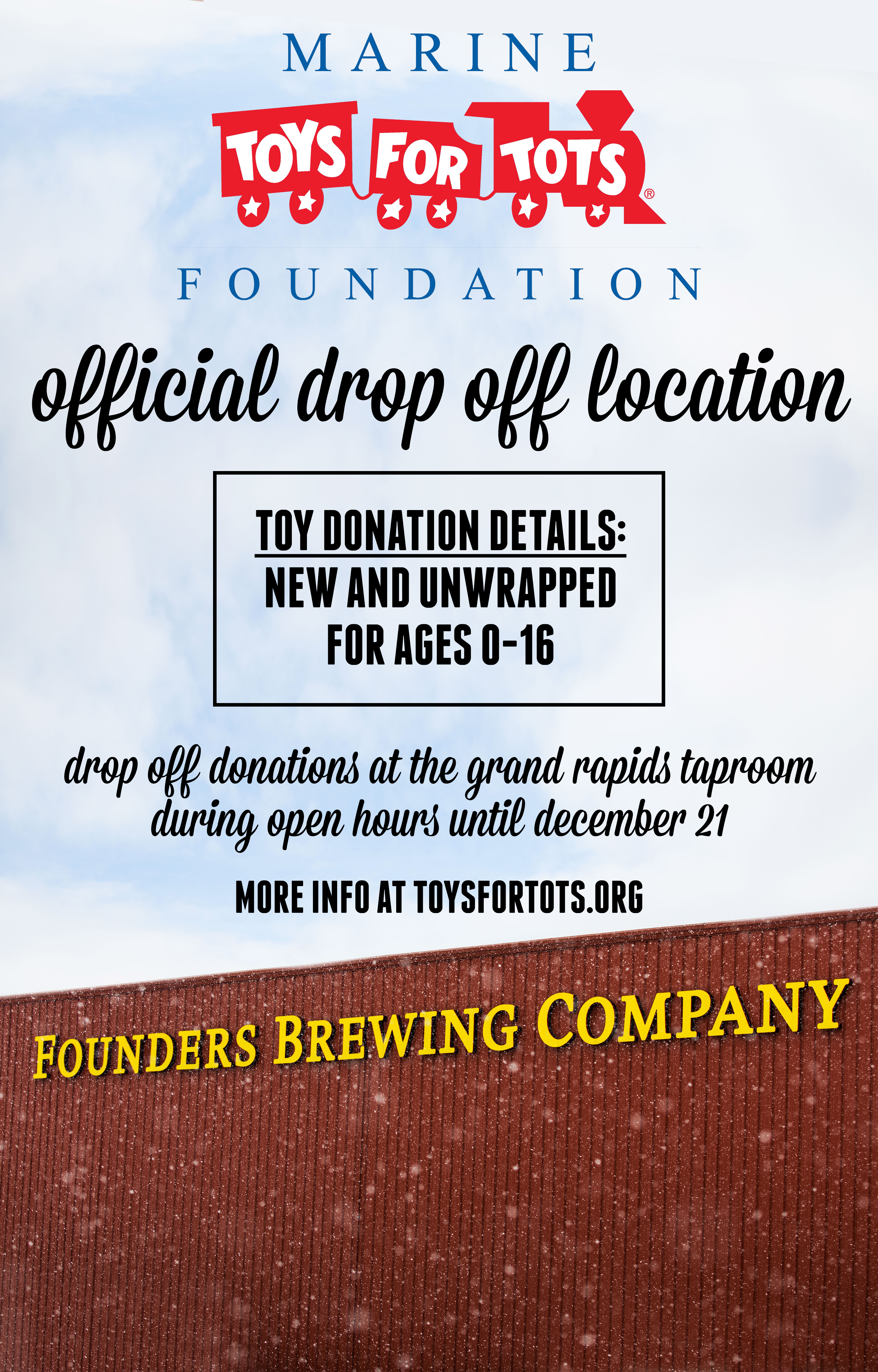 Toys for Tots Official Drop Off Location announcement poster