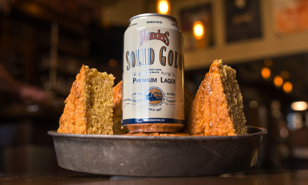 Can of Founders Solid Gold with corn bread